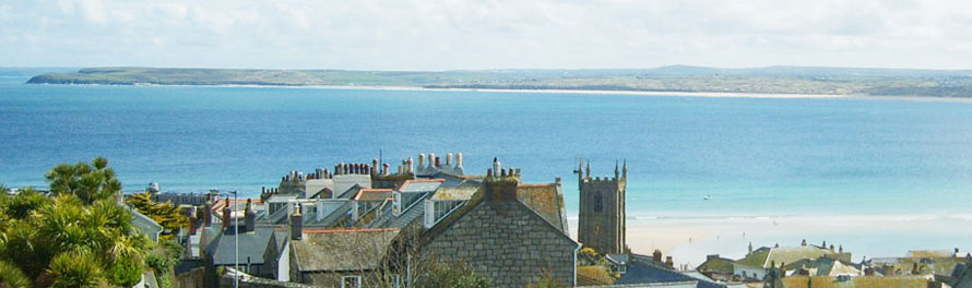 View of St Ives bay across the rooftops from Carrack Dhu.