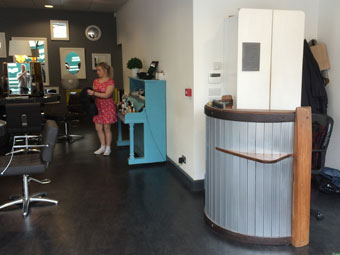 Reception desk 2014. Tswei Hunter Walsh Hair Salon, Penzance.