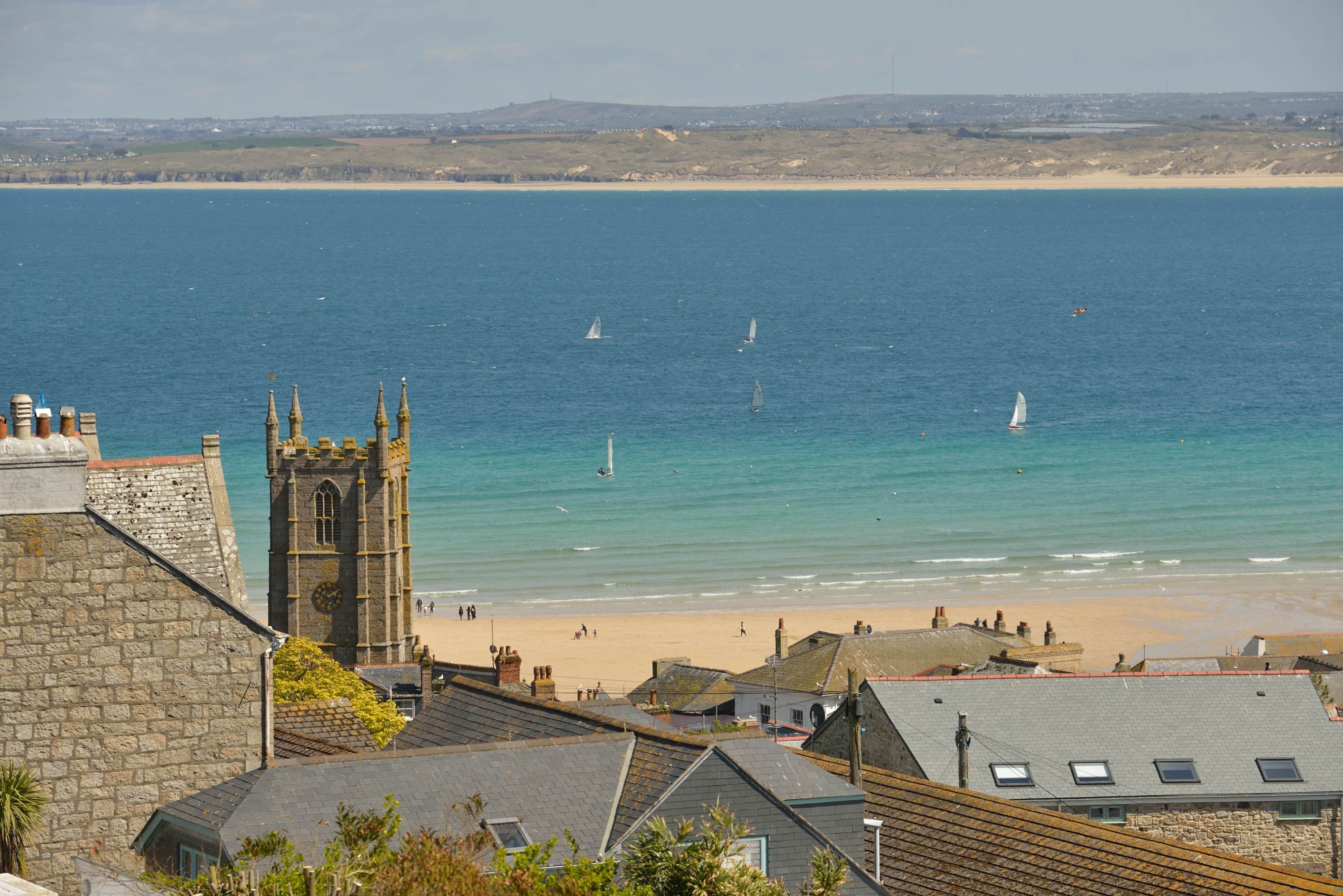 View of St Ives harbour beach from Making Waves holiday apartment.